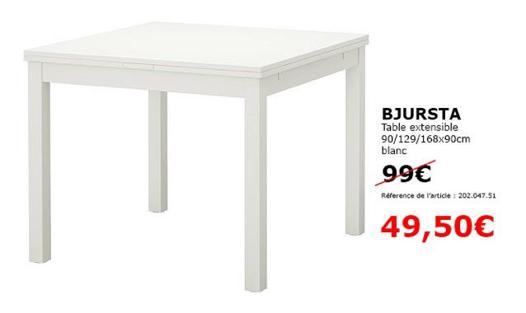 table bjursta blanche